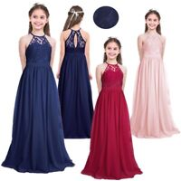 Lace & Chiffon Girls Party Dress Jnr Bridesmaid Flower Girl Dress Size 4 to 14