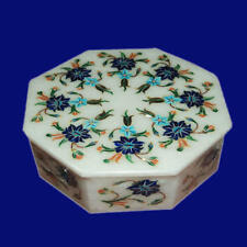 "6"" Marble ring Box semi precious stones Inlay handmade Work decor and gift"
