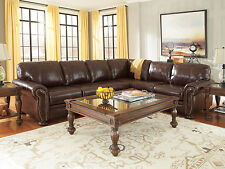 MILLER Traditional Living Room Brown Real Leather Large Sectional Sofa Couch Set : large sectional sofa with chaise - Sectionals, Sofas & Couches