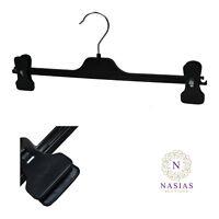 BLACK PLASTIC ADJUSTABLE WAIST CLIP HANGER TROUSERS SKIRTS  35cm Packs 10-100