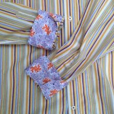 Sand Mens L Gold Multi-Color Stripe Flip Cuff Shirt Cotton Long Sleeve