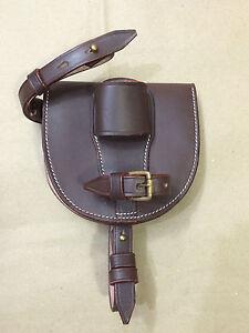 LIGHT HORSE WWI Leather Horseshoe Case - DARK BROWN