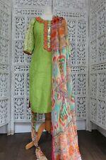 Green printed embroidered pyjami churidaar suit  Size UK 6 EU  32 – SKU16433