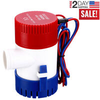 Waterproof 12V Lit Switch Bilge Pump Marine Ski Wakeboard Bass Pontoon Boat Red