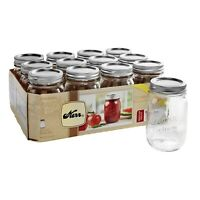 Kerr Glass Mason Jars with Lids & Bands, Regular Mouth 16 oz 12 Count