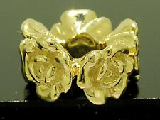 Bd080 - GENUINE 9ct SOLID Gold Roses Garland Heavy BEAD Charm made SOLID to last