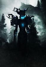 Framed Print - Blue Fire Forest Demon (Gothic Horror Animal Picture Poster Art)