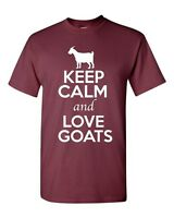 Keep Calm And Love Goats Antelope Animal Lover Funny Humor Adult T-Shirt Tee