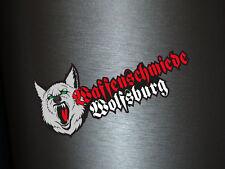 1 x Aufkleber Waffenschmiede Wolfsburg Tuning Custom Wolf Sticker Autoaufkleber