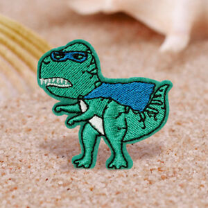 Green Masked Dinosaur Embroidered Sew On Iron On Patch Badge Fabric Transfer Cap