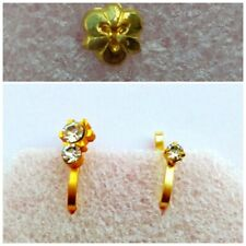 3 Pcs Indian Nath Golden Wedding Clip On Fake Stud Fashion Nose Ring Jewelry