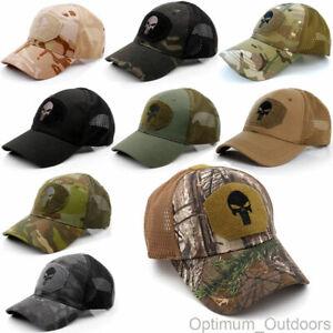 Punisher Mesh Back Baseball Cap Operators Hat Airsoft Army Camouflage Skull UK