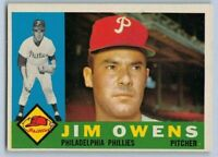 1960  JIM OWENS - Topps Baseball Card # 185 - PHILADELPHIA PHILLIES