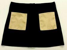 Rachel Roy Women's Black Skirt with Brown Pockets, Front Zipper & Snap, Size 6