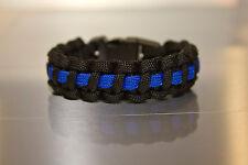550 Paracord Survival Bracelet Police Tribute thin blue line Choose your size