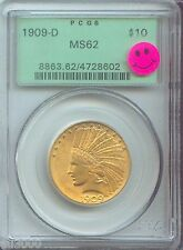 1909-D $10 Indian Eagle Pcgs Ms62 Premium Quality P.Q. Ogh Old Green Holder