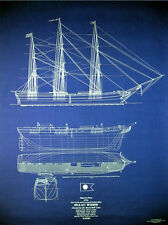 Vintage Sailing Ship Isaac Webb 1850 Print Blueprint Plan Drawings 24x34  (041)