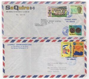 1975 & 1977 EL SALVADOR - 2 x Air Mail Covers to BIRMINGHAM & LUTON GB