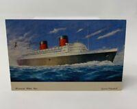 Queen Elizabeth Ship Postcard Posted At Sea Cunard White Star Vintage 18-1632C