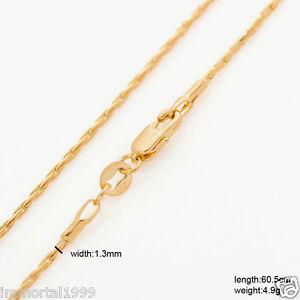 Chaines plaqué or jaune maille grain de Riz, Café-serpent taille 60~50 cm