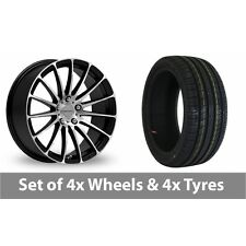 "4 x 16"" Inovit Force 4 Black Polished Alloy Wheel Rims and Tyres -  225/50/16"