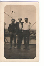 RPPC Group Foreign Postcard of 3 Adults by Water with Boats