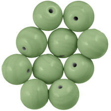 Shiny Handmade Opaque Green Round Glass Beads 14mm Pack of 10 (B57/3)