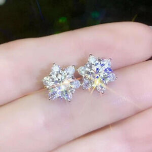 2.63 TCW Round Cut Moissanite Flower Halo Earring In 14k White Gold Plated