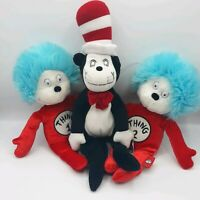 Dr Seuss Cat in the Hat Thing 1 Thing 2 Plush Doll Lot Set Universal Studios
