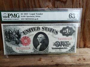FR39 $1 1917 SERIES LEGAL TENDER SPEELMAN / WHITE PMG 63 EPQ CHOICE UNC * Rare !