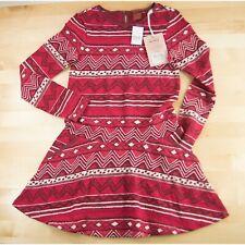 Scotch R'Belle Red Geometric Aztec Print Girls Dress 8