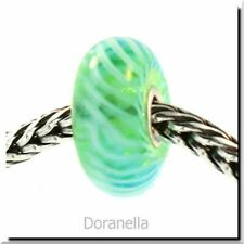 Authentic Trollbeads Glass 61370 Turquoise Feather *0