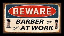 Beware Barber At Work Bar Runner Counter Mat Barbers Salon Hairdressing 482