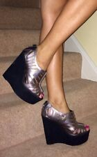 Office Silver Leather Laser Cut Out Black Platform Wedge Heel Shoes 7 40