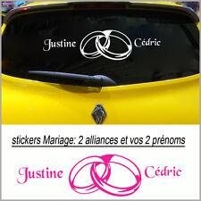 Stickers autocollant déco voiture  MARIAGE  Prénoms + alliances