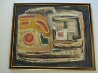 LARGE 1950'S  PAINTING ABSTRACT EXPRESSIONIST MODERNISM CUBIST CUBISM MYSTERY