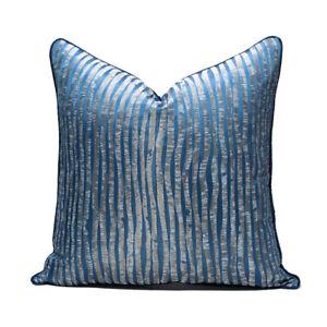 Blue Decorative Throw Pillow Square Cushion Cover Case Modern Luxury Pillowcase