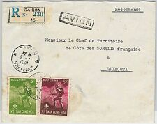 BOY SCOUTS --  VIETNAM -  POSTAL HISTORY: REGISTERED COVER to DJIBOUTI!! 1960