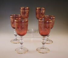 VINTAGE MOSER BOHEMIA RUBY -CRANBERRY AND GOLD SET OF 6 GOBLETS