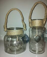 Set x 2 Nautical Style Glass Candle Holder & Decorative Bottle Love Heart Detail