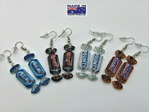Miniature 3D CHOCOLATE Candy St Lolly Novelty Hook EARRINGS Gift Dress Accessory