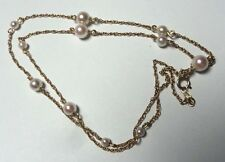 Solid 14Kt YG 'Mikimoto Pearl' Stationed Necklace Remake From Broken Strand 18""
