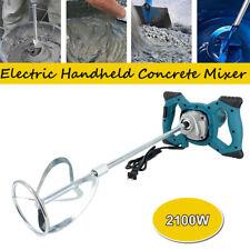 Electric Concrete Cement Mixer Handheld Plaster Grout Paint Mortar Stirrer Blue