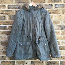 FAT FACE Green Parka Coat Womens Size 10 UK Removable Hood Faux Fur Trim Zip Up