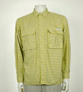ExOfficio Yellow Plaid Vented Travel Button Front Shirt Mens Medium