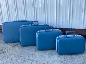 4 VTG BLUE NESTING TRAVEL LUGGAGE SET MID CENTURY MODERN