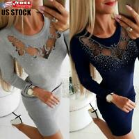 Women's Mesh Crystal Long Sleeve Bodycon Knitted Casual Evening Party Mini Dress