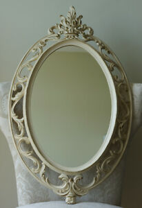 Rare SYROCO Vintage Wall Ivory MIRROR Victorian 1962 Boudoir Hollywood Regency