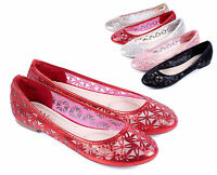 Red nn Ladies New Blink Nets Style Narrow Womens Ballet Flats Shoes Size 6