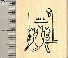 Cute kitties waiting for mail rubber stamp E8805 WM cat